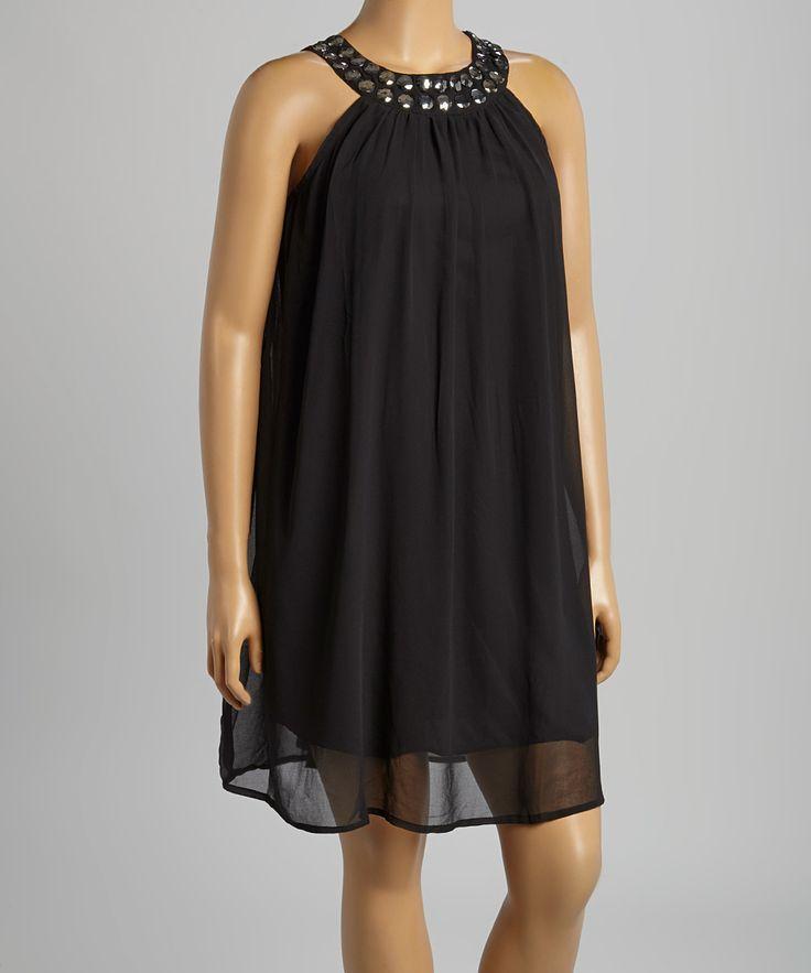 Black & Silver Studded Yoke Dress