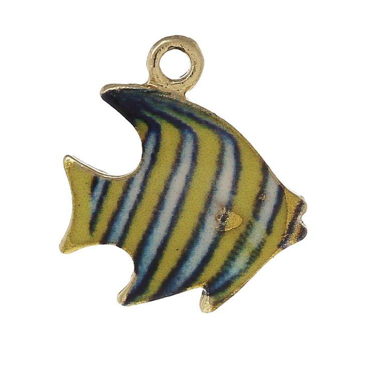 8 SEASONS Шарм Подвески Тропические Рыбы Свет Золотой Многоцветный Эмаль 17 мм (5/8 ) х 15 мм (5/8), 10 Шт.