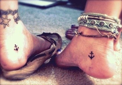 Tiny anchor tattoo >> well this is pretty much what I want, except only on one foot. If I ever want it enough to actually get it, that is..