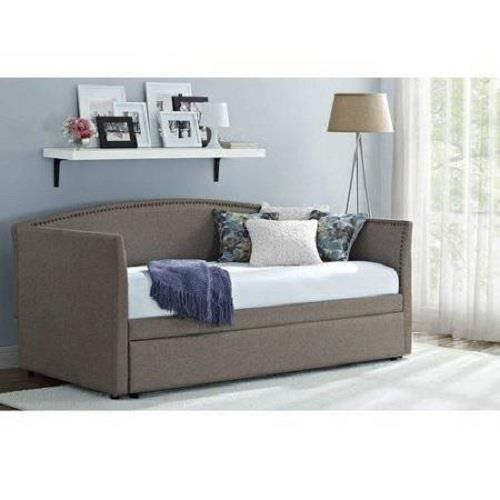 Gray Linen Daybed With Trundle : Daybed with trundle gray upholstered linen day bed grey