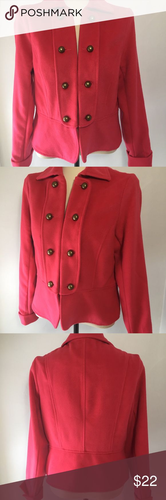 "Dizzy Lizxie Military Style Salmon Jacket Not pink and not peach, a pretty salmon, heavy weight fleece feel, cute as the buttons, jacket. Unique and easily paired with  denim or your favorite skirt. Hook and eye closure. In EUC.  Fully lined.  21"" p2p. 21"" long. Poly/wool blend Dizzy Lizzie Jackets & Coats"