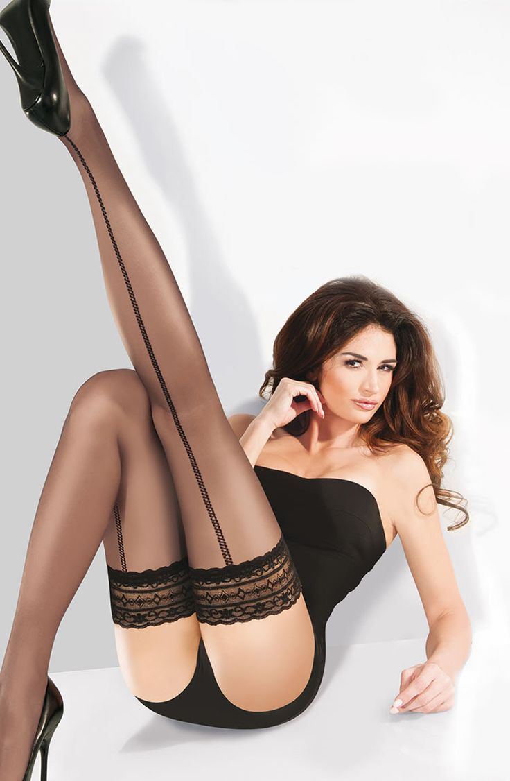 Gabriella Calze Dina Hold Up Stockings £14.99  The Dina stockings are a fine, slightly transparent hold up with lycra. A lovely 9cm lace band at the top with double silicone band. Pretty pattern running down the back of the leg creating a seam effect. #stockings #gabriella