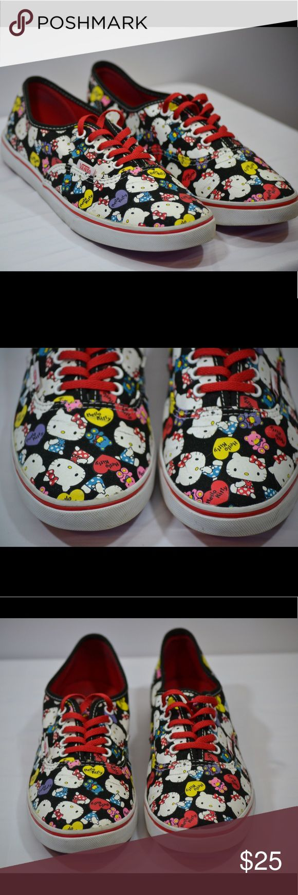 Hello Kitty Vans Classics Men's 7, Women's 8.5 Hello Kitty Vans Classics Men's 7, Women's 8.5. Shoes are in good condition but the print on shoes shows wear. Vans Shoes Sneakers