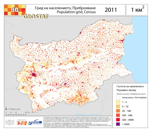 - A population grid of Bulgaria in 2011.