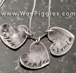 Sterling Silver Collection - Sweetheart necklace of your child's finger or toe print. #weepiggies #jewelry #necklace #fingerprint #heart