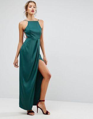 ASOS Drape Front Delicate Back Satin Maxi Dress