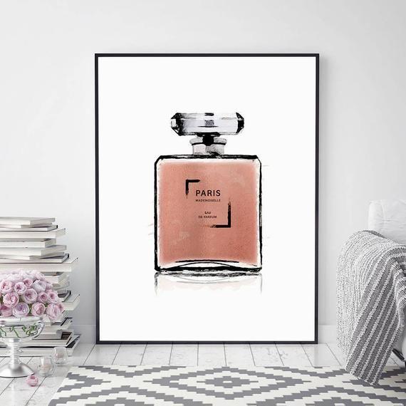 Perfume Bottle Print Eau De Perfum Perfume Illustration Perfume Wall Decor Wall Art Bedroom Decor Perfume Bottles Wall Printables Bedroom Wall Art