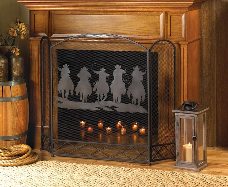 Cowboy round-up fireplace screen - 17 Best Ideas About Rustic Fireplace Screens On Pinterest