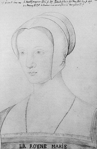 Sketch of a young Mary Tudor right after she married the elderly French king, Louis XI. The marriage didn't last long before he died.