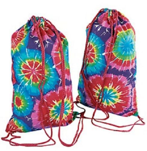Lot of 12 Bright Tie Dye Backpacks With Drawstring - 1 Super Party