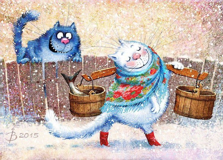 Синие коты счастья Ирины Зенюк - Ярмарка Мастеров - ручная работа, handmade