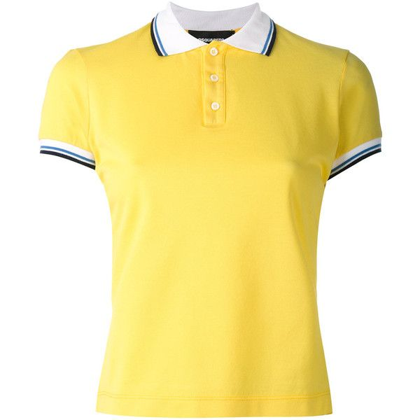 Dsquared2 contrast stripe polo shirt featuring polyvore, women's fashion, clothing, tops, slimming tops, polo shirts, 80s tops, polo tops and yellow polo shirt
