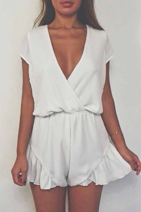 #street #style summer / white playsuit