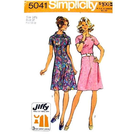 Vintage 70s Dress Pattern Simplicity 5041 Raglan Sleeve Roll Collar Dress Womens Sewing Pattern Bust 37 Half Size