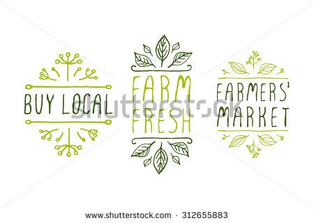 Hand-sketched typographic elements. Farm product labels. Suitable for ads, signboards, packaging and identity and web designs. Buy local. Farm fresh. Farmers market.