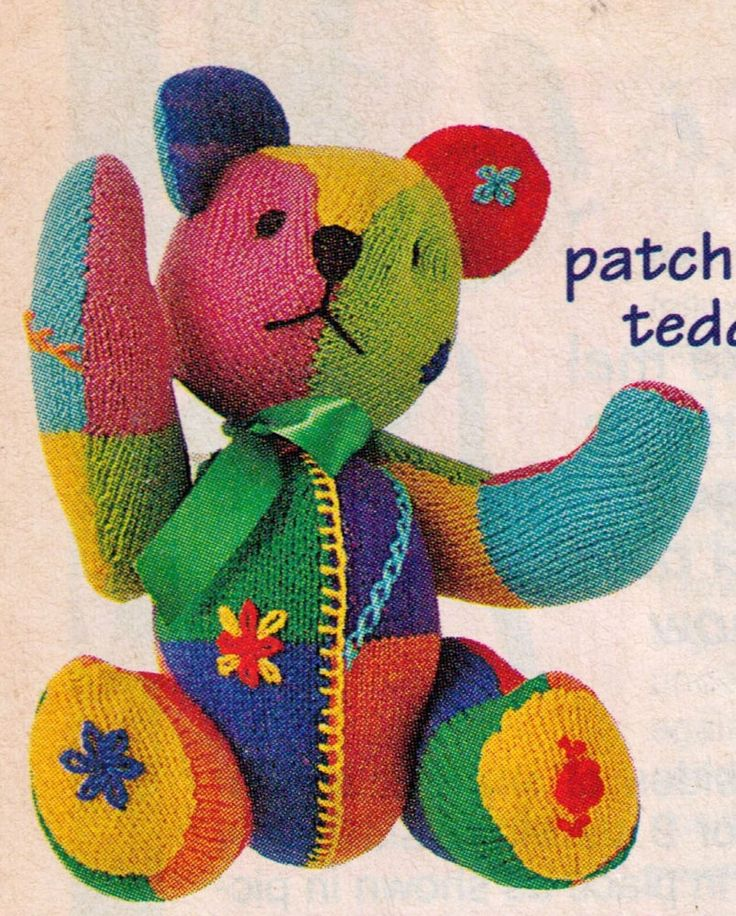 PATCHY BRIGHT BOTS JOINTED TEDDY BEAR TOY RARE SIZE 35 CMS 8PLY KNITTING PATTERN