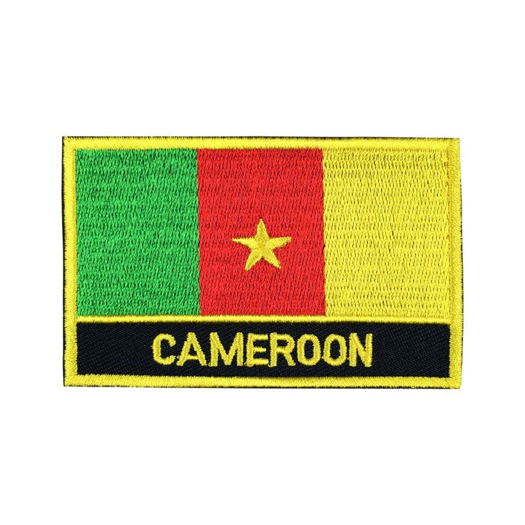 Cameroon Flag Patch Embroidered Patch Gold Border Iron On patch Sew on Patch Bag Patch meet you on www.Fleckenworld.com