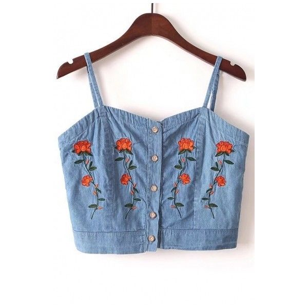 Chic Floral Embroidered Spaghetti Straps Buttons Down Denim Cami Top (1,660 INR) ❤ liked on Polyvore featuring tops, denim tank top, blue crop top, blue tank, crop tank and denim crop top