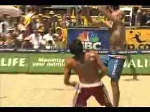 AVP Volleyball Mike Lambert face shot  on Phil Dalhausser