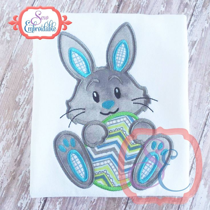 HAVE - Boy Bunny with Egg Applique Embroidery Boutique