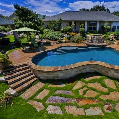 60 best better house ideas images on pinterest home for Pool design for sloped yard