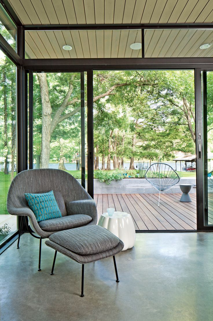 Acapulco chair on patio - Saarinen Womb Chair Upholstered In Knoll Fabric Is Accented By A Maharam Pillow And A Ceramic Oppiacei Pouffe From Skitsch Acapulco Chairs Handmade By