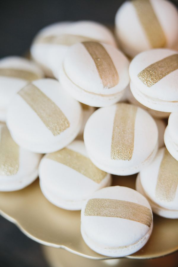 gold striped macarons // photo by Aaron Young // desserts by Cupcakes Couture of Manhattan Beach ❥
