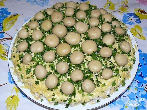 Салат Грибная поляна - это очень вкусный и нарядный салатик к празднику. Салат выглядит настолько эффектно, что у ваших гостей останется только один выход - быть в восторге :)