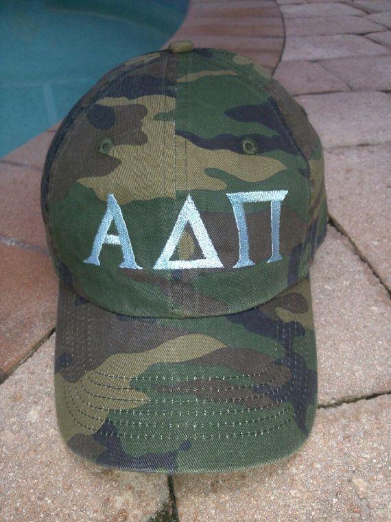 Alpha Delta Pi Mallard Ball Camouflage Letter Hat camo ADPi by PreppyPinkies, $18.95 www.preppypinkies.com