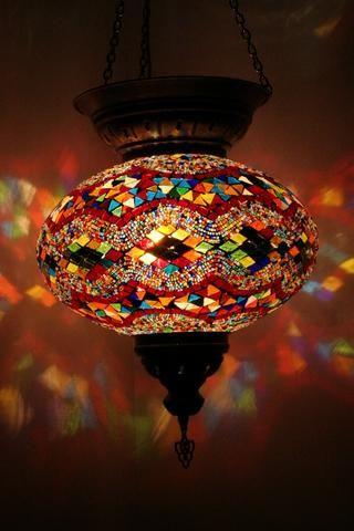 Multi Diamond Band Turkish Glass Lamp