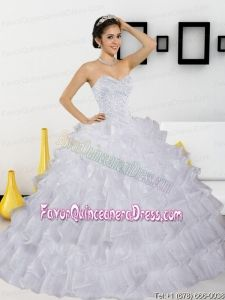 Discount Beading and Ruffled Layers White Quinceanera Dresses for 2015