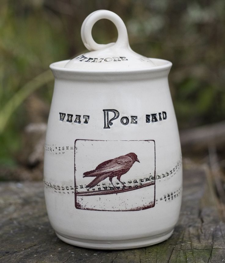 This collection is inspired by the words of Poe. The name Poe is stamped into the 'spirit' jar using reclaimed letterpress. Letters swirl around the cups in a random pattern. Only once have I had to explain the connection between Poe and the raven, Nevermore!In my neighborhood, there are three ravens that always fly together and often sit in the tree tops above my studio. I patiently waited for the trio to sit in an opportune place for me to photograph them. The waiting paid off, however…