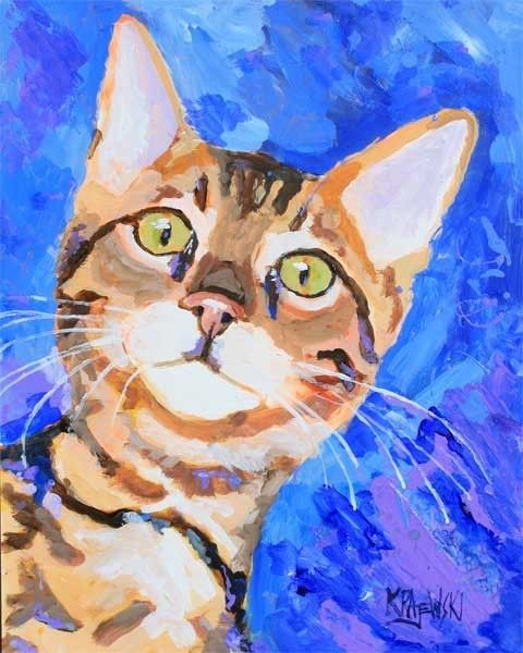 Bengal Cat Art Print of Original Acrylic Painting by dogartstudio