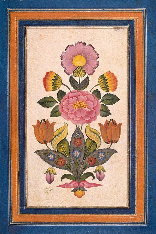 Flower Study by Shaykh | Gouache, 30.3 x 20.5 cm | Iran, 1777, Zand Dynasty