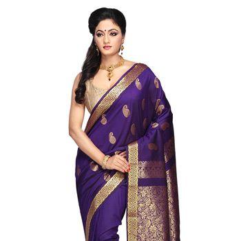 Dark Purple South Art Silk Saree with Blouse