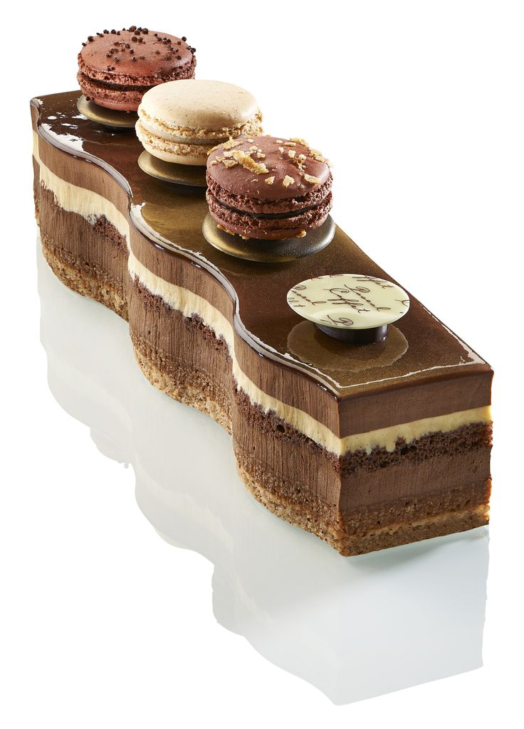 Le Saint-Domingue. La recette pour les amoureux du chocolat. Mousse au chocolat noir unique 71% issu de fèves biologiques de Saint Domingue, biscuit chocolat, biscuit dacquois aux amandes, crème brulée à la vanille Bourbon de Madagascar, croustillant feuilleté au praliné noisette du Piémont maison. #chocolat #patisserie #macaron
