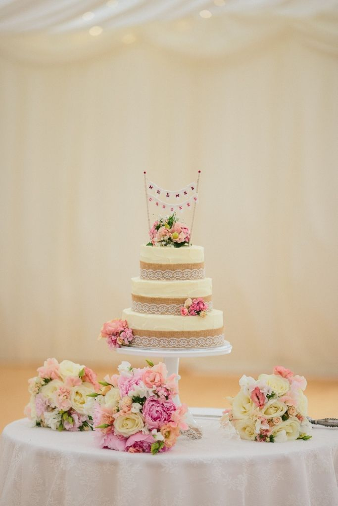 Rustic Wedding - cake, hessian and lace, burlap, bunting cake topper, fresh flowers