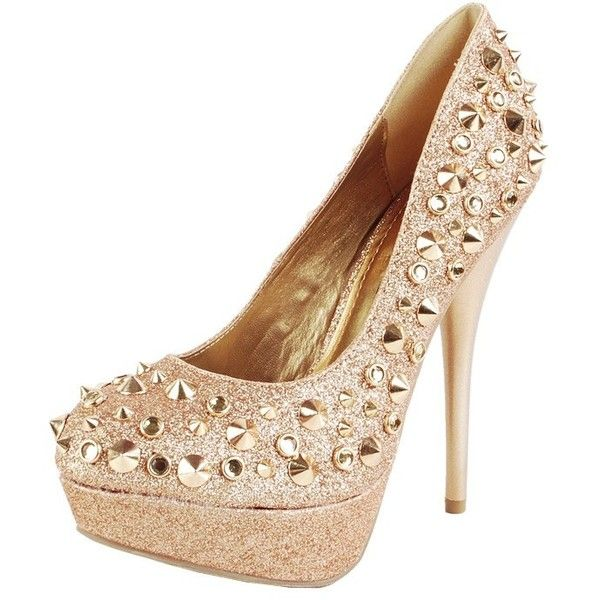 Nicole Spike Glitter Platform Pumps GOLD ($53) ❤ liked on Polyvore featuring shoes, pumps, outfits, heels, gold glitter shoes, platform shoes, gold glitter pumps, gold pumps and glitter pumps