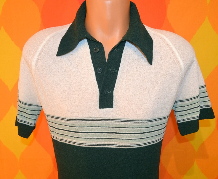 vintage 70s polo disco golf shirt green STRIPE leisure stripe texturized slim Small butterfly collar 60s. $18.00, via Etsy.
