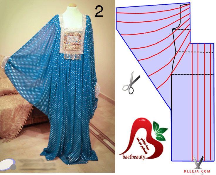تشريح جلابية بكم درابيه - اكاديمية بنت مفيد لتعليم الخياطة وتصميم الازياء والمهارات