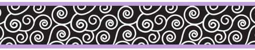 Purple and Black Kaylee Children and Kids Modern Wall Border by Sweet Jojo Designs. One - 6 in x 15 foot roll. Prepasted. Easy to remove. The designer wall paper borders are great to add style to any nursery or child's bedroom. This design has matching accessories such as hampers, lamp shades, window treatments and wall decor. coordinating sheets, wall decals, shower curtains, mobiles, changing pads and pillows cases.