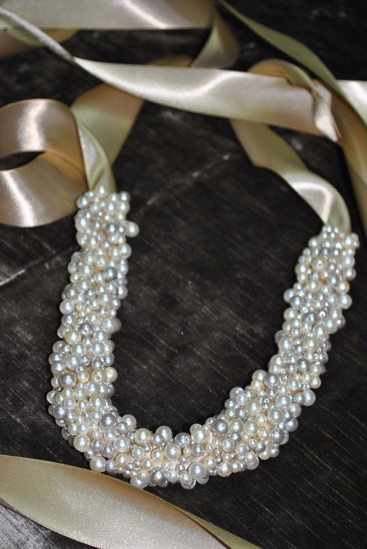LOVE THIS! Pearl Sash: Beaded Bridal Belt - Cream, Silver, Champagne