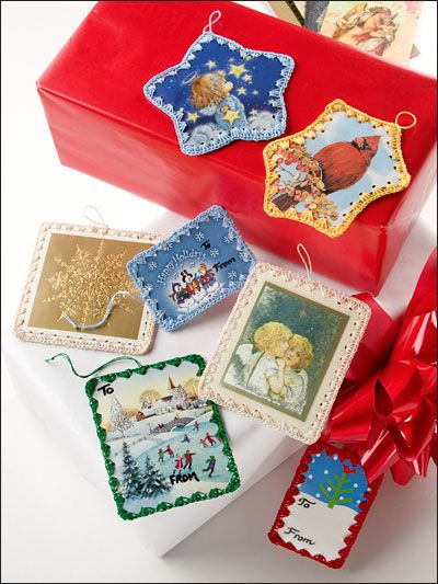 Recycle old Christmas cards into gift tags! Pattern from RECYCLE IT! at e-patternscentral.com