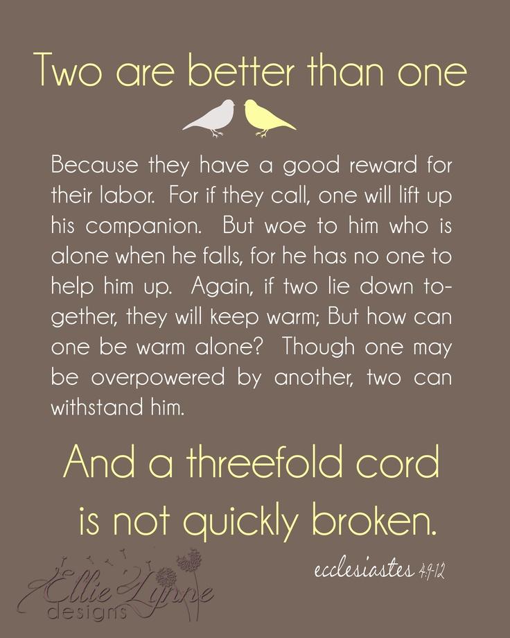 Ecclesiastes 4 9 12 Our Wedding Scripture