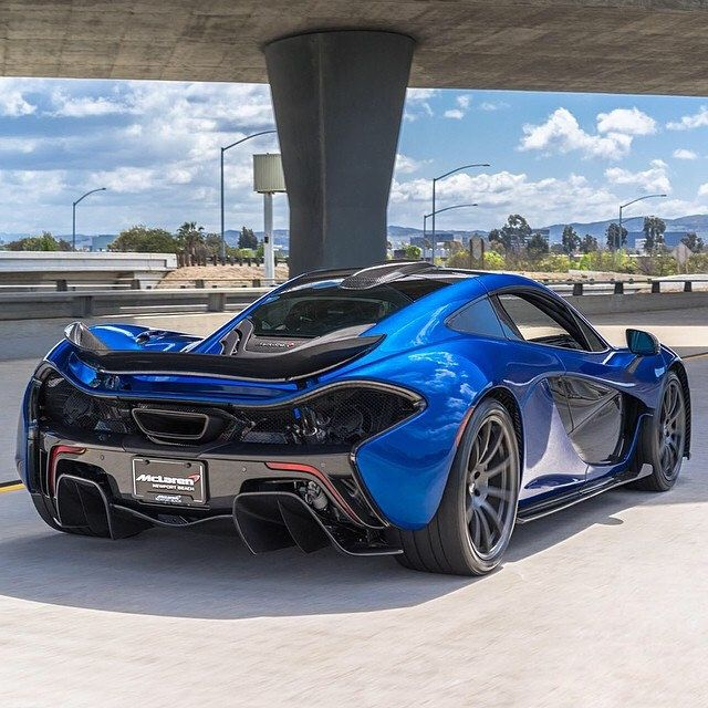 Yes, A McLaren P1 Supercar Fly-by In Royal Blue! Happy