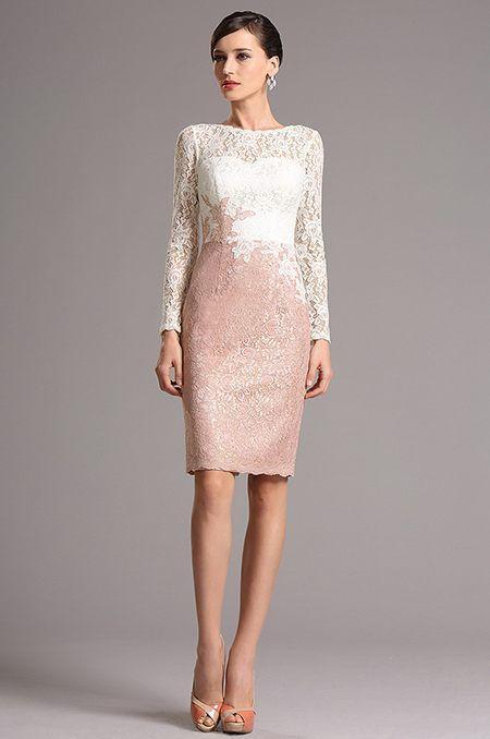 Čipkované ružovo-biele koktejlové šaty  E00867