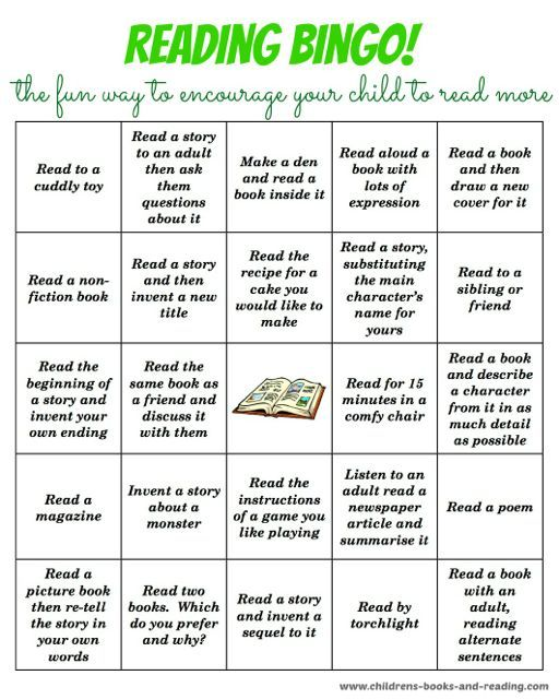 Help encourage your child to read more with this fun bingo reading activity.