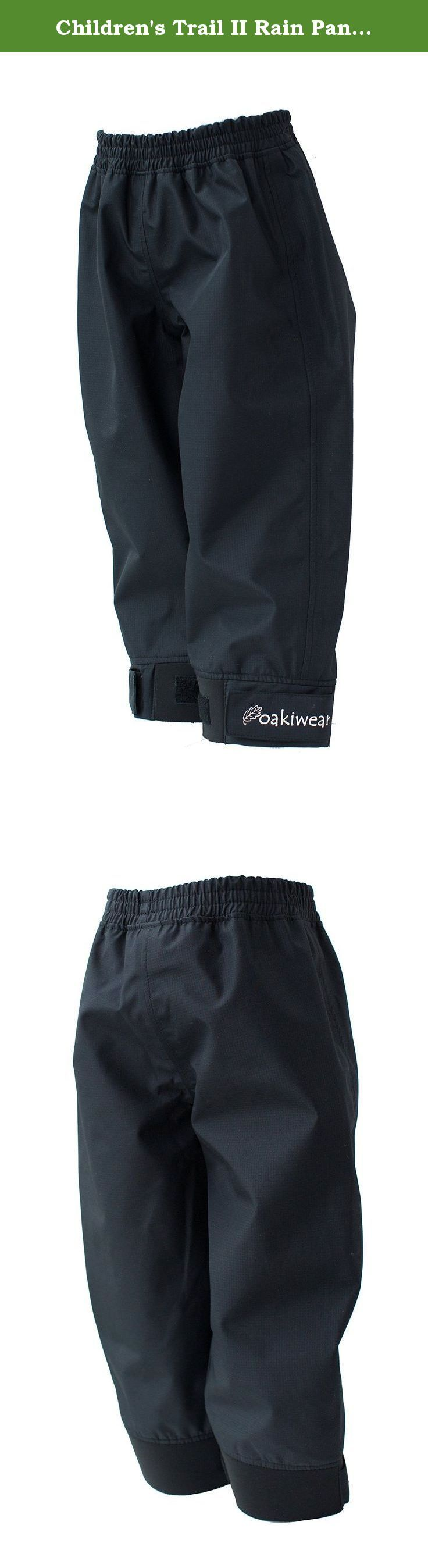 Children's Trail II Rain Pants, Black, 12/13. These rain pants are as tough as it gets- made with 240T pongee with a transparent TPU membrane. Whether you're hiking, camping, jumping on the playground, or simply caught in the rain, these rain pants will keep your kiddo dry and happy.