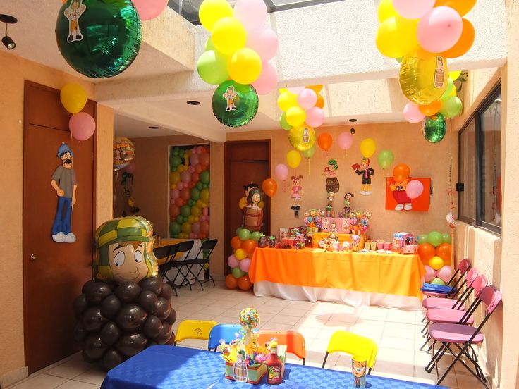 Decoraci n tem tica chavo del ocho globos centros de - Ideas fiesta cumpleanos infantil ...