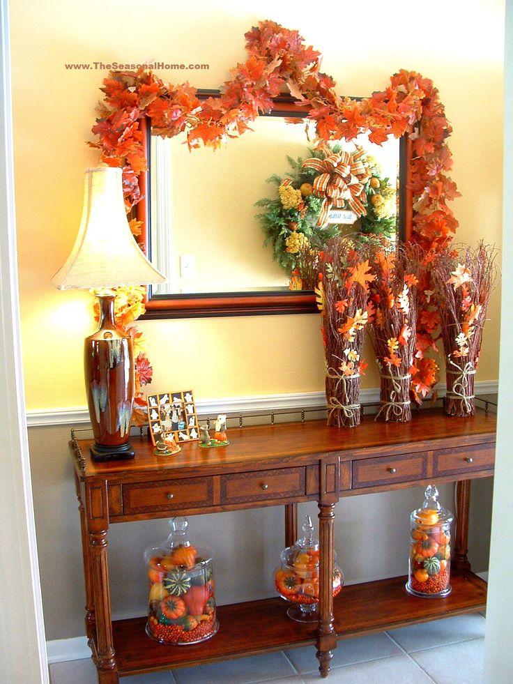 Thanksgiving Foyer Decor : Fall vignette from the seasonal home
